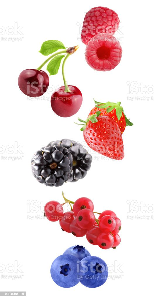 Flying fresh berries isolated on white background - foto stock