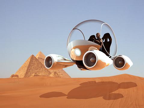 istock Flying Futuristic Safari Car 893057750