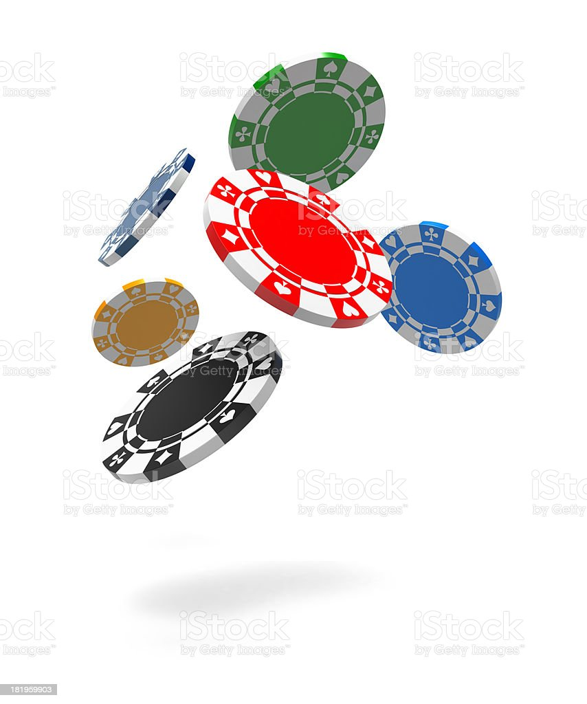 Flying Gambling Chips stock photo