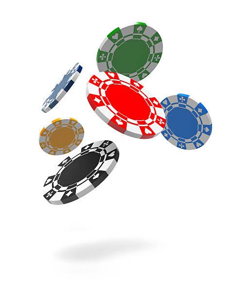 Flying Gambling Chips stock photo