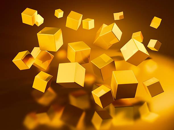 Flying Golden Cubes 3D Render of flying golden cubes. Very high resolution available! Concept image for change/rearrangement. Use it for Your own composings!Related images: golden cube stock pictures, royalty-free photos & images