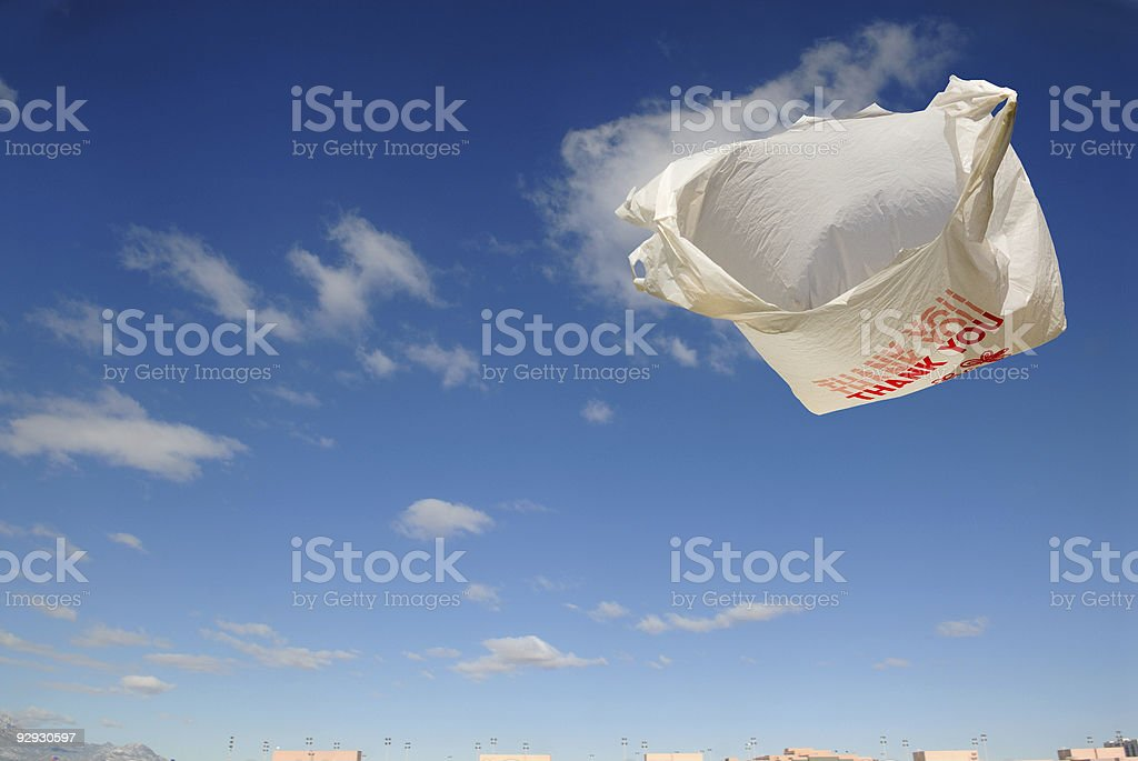 Flying Grocery Bag stock photo
