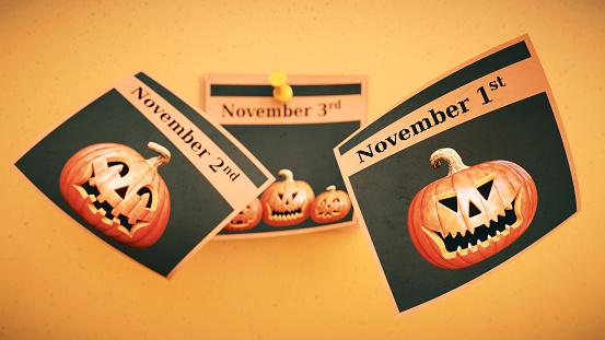 Flying Halloween leaflet notes with pumpkins November calendar dates.