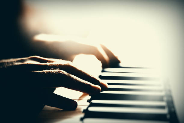flying hands playing, keyboard, piano, jazz, blues, pianist stock pictures, royalty-free photos & images