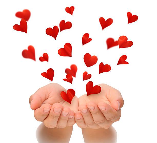 fliegende herzen von händen valentine's tag und liebe konzept, geburtstagskarte - foto collage geschenk stock-fotos und bilder