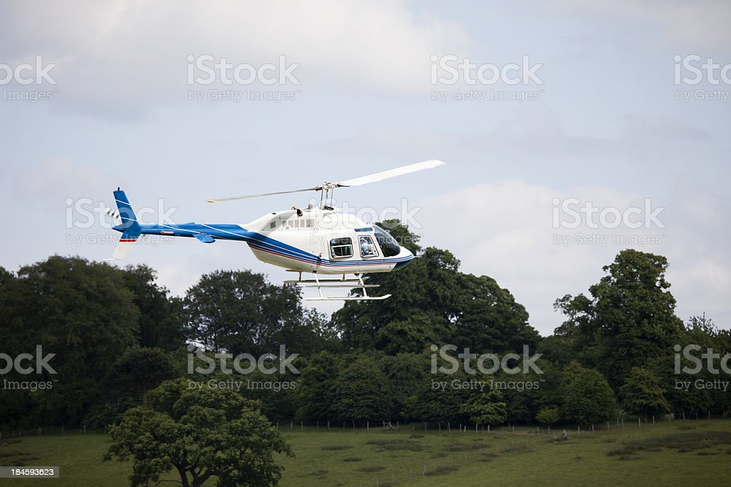 Flying Helicopter stock photo