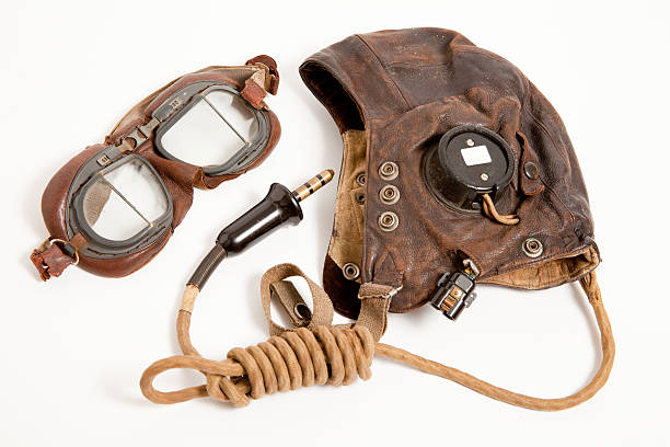 WW2 RAF Flying Helmet and Goggles stock photo