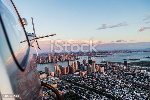 Flying away from Manhattan over to landing site, looking back is the magnificent skyline of Manhattan, New York