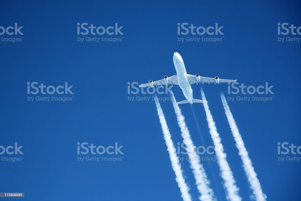 flying high. Commercial jet at altitude stock photo