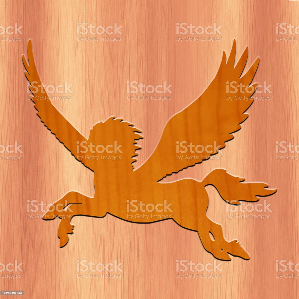 Flying Horse made with wood in wood Background stock photo
