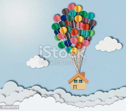 istock Flying house over clouds, paper cutting style 825654578