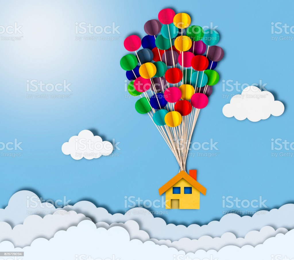 Flying house over clouds, paper cutting style stock photo