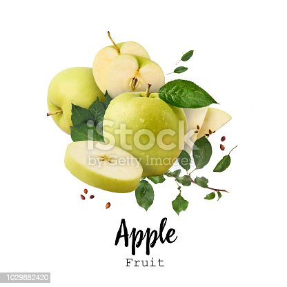 istock Flying in air Green fresh whole and cut apples and leaves isolated over white background 1029882420