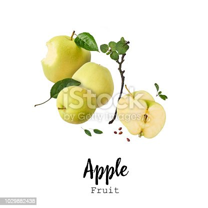 istock Flying in air Green fresh whole and cut apples and leaves isolated over white background 1029882438