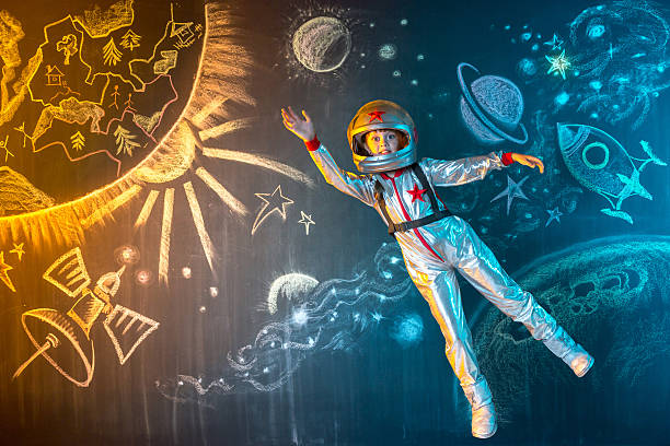 Flying in space stock photo