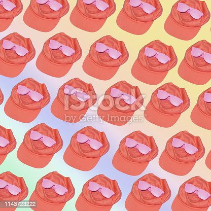 1125575814 istock photo flying in the air coral caps with pink sunglasses. 1143723222