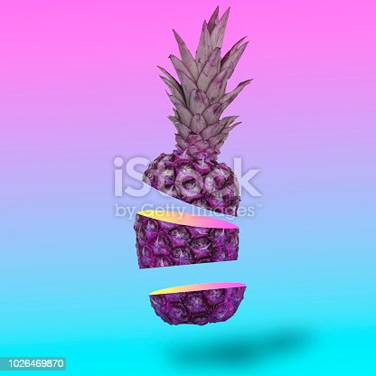 1014178164 istock photo Flying in the air pineapple cutting on slice. 1026469870