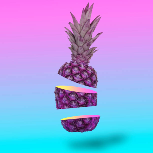 flying in the air pineapple cutting on slice. - vaporwave foto e immagini stock