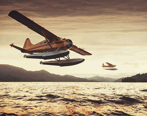 Flying in the Sunset Two float planes at low altitude in sunset light over an Alaskan inlet.  Shot at high iso with light grain. propeller stock pictures, royalty-free photos & images