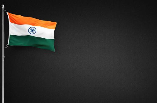 flying indian flag on black background, india flag, tri coloured flag.
