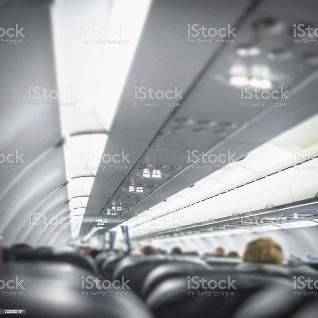 Flying inside an Airplane stock photo