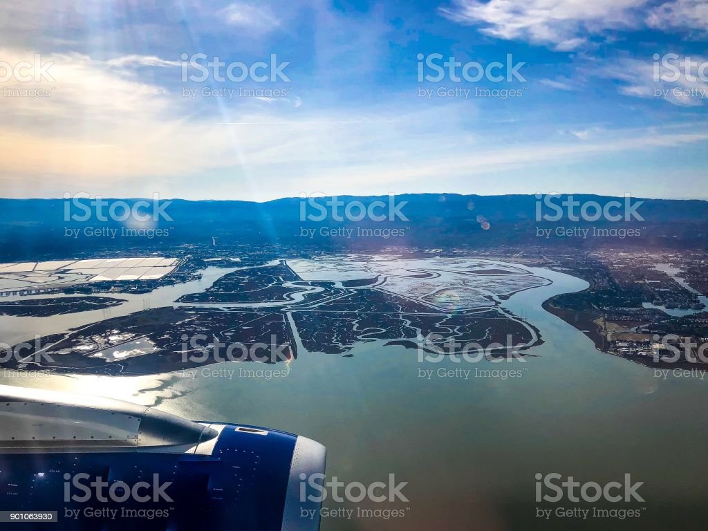 flying into San Francisco National Airport stock photo