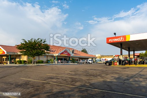 Barstow, CA / USA – August 22, 2020: View of the Flying J Travel Center located in Barstow, California, adjacent to Interstate 15 in the Mojave Desert.