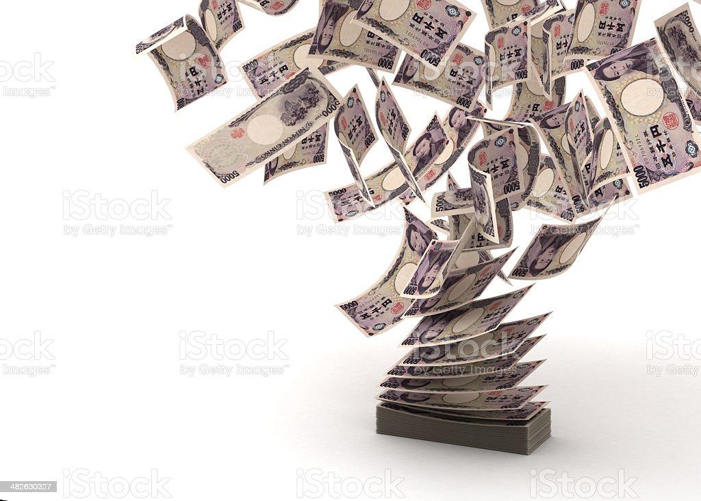 Flying Japanese Yens stock photo
