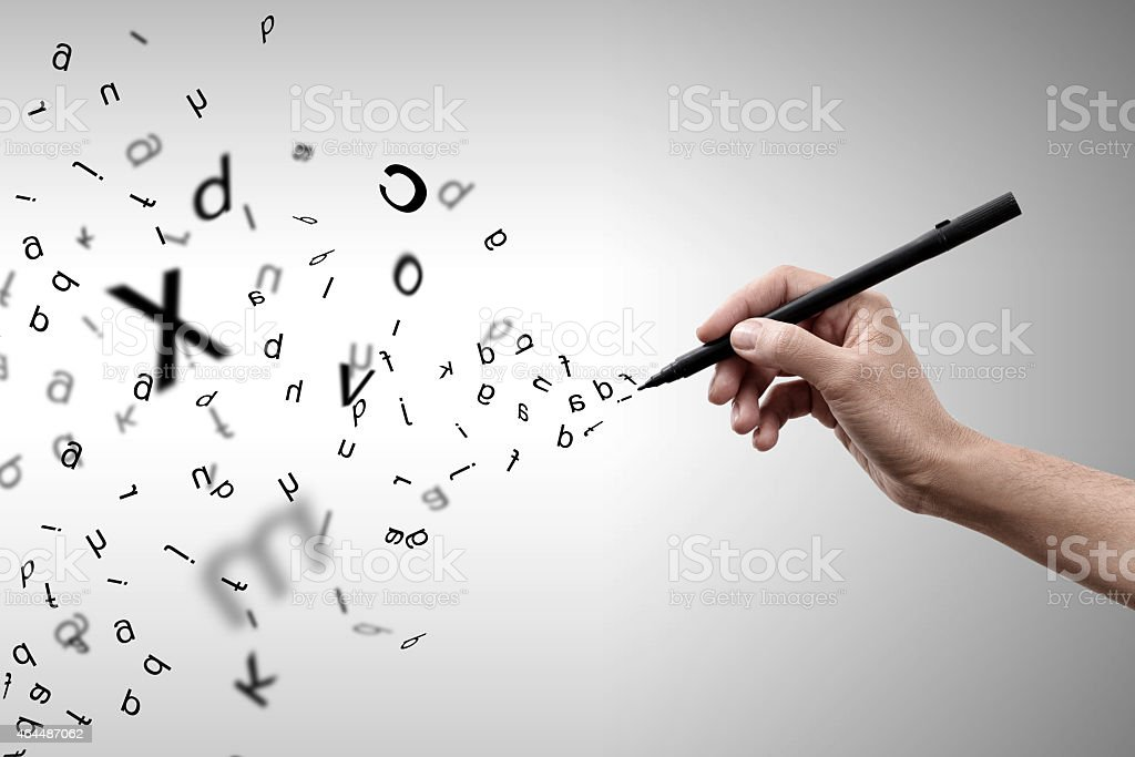 Flying letters stock photo