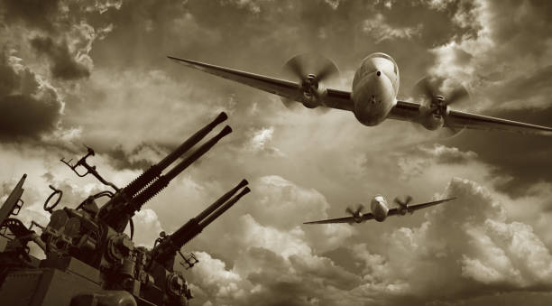 Flying Military Airplanes and Machine Guns  antiaircraft stock pictures, royalty-free photos & images