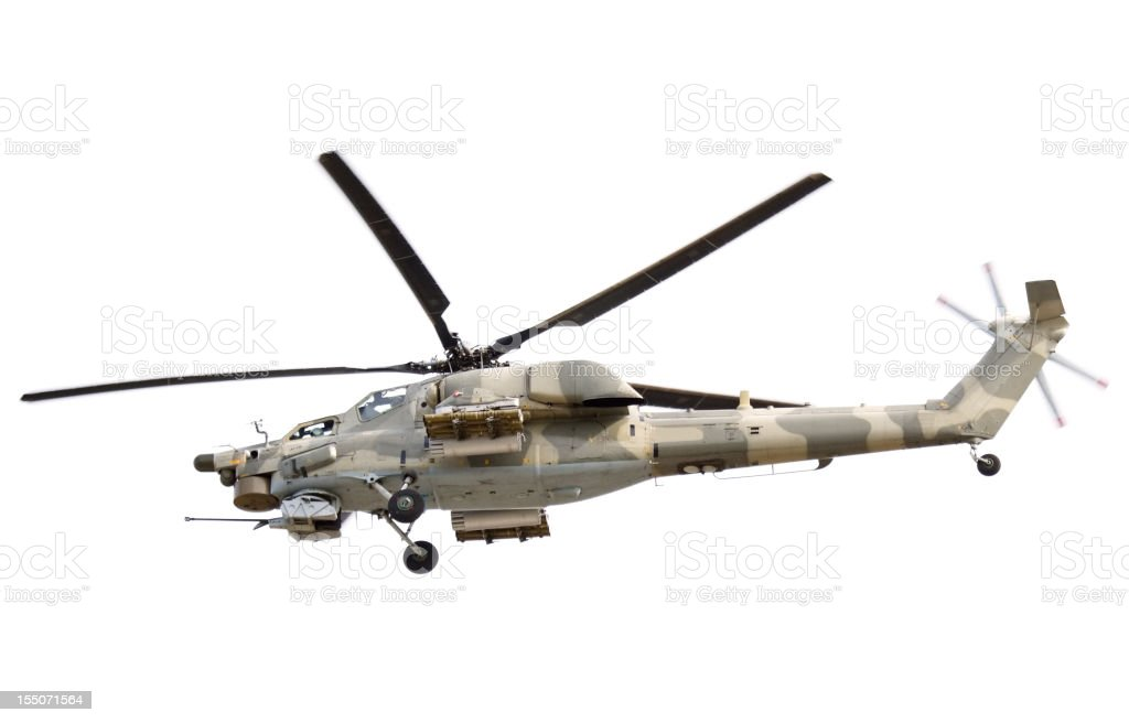 Flying Military Helicopter on white background royalty-free stock photo
