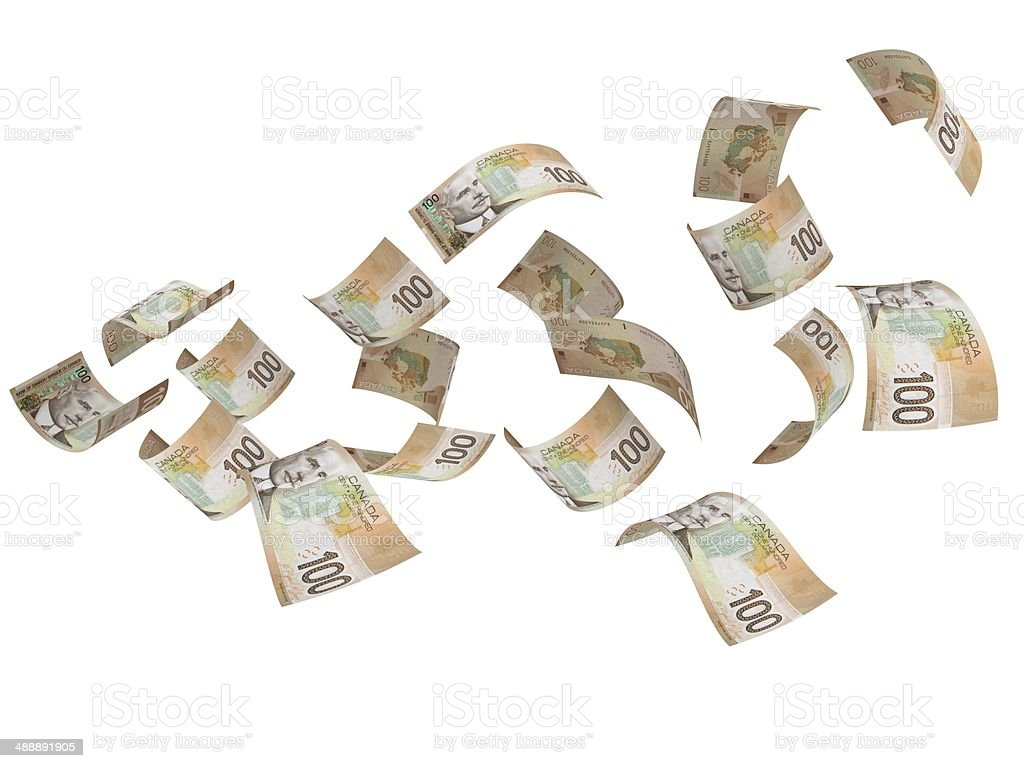 Flying Money - Canadian Dollars stock photo