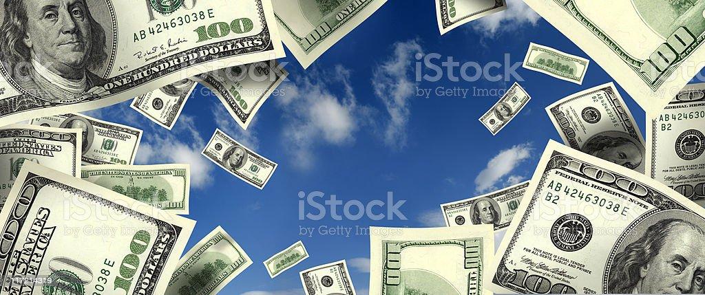 flying money frame stock photo