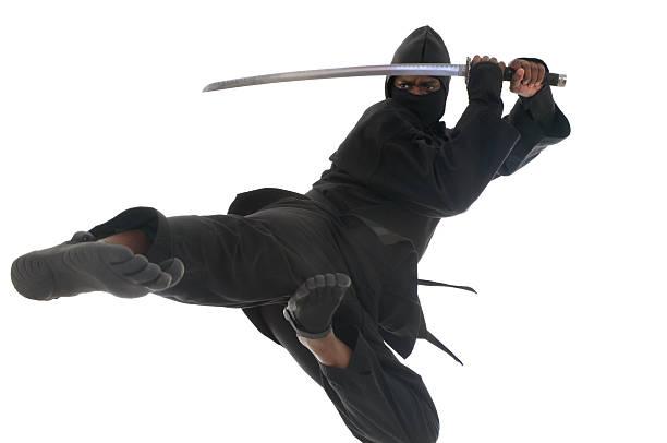flying ninja - ninja fotografías e imágenes de stock