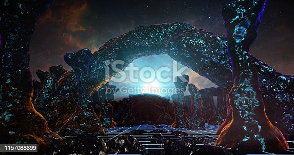 istock Flying On The Mountain In Sci-fi Stone 02 1157088699