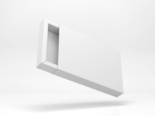 flygande öppen vit kartong skjutbara presentbox mockup - remmar godis bildbanksfoton och bilder