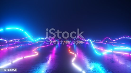 istock Flying over a colorful bright neon glowing graphic equalizer. World of music. Ultraviolet signal spectrum, laser show, energy, sound vibrations and waves. 1191537906