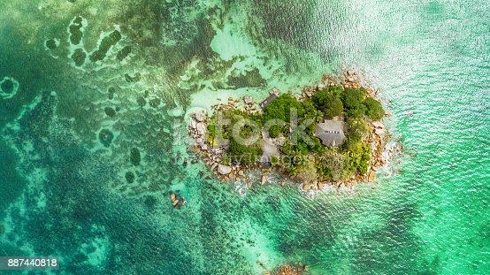 Flying over a little island - Seychelles