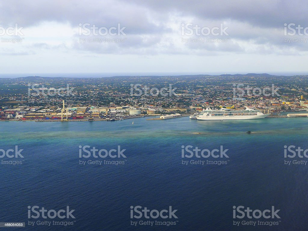 Flying over Aruba royalty-free stock photo