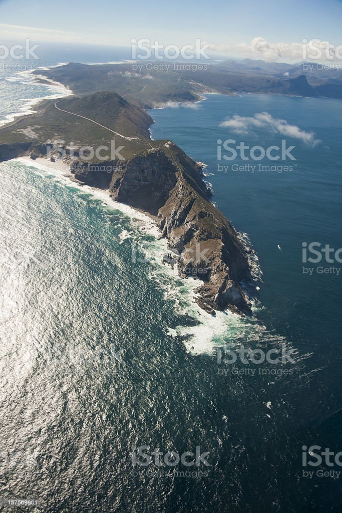 Flying over Cape of Good Hope, South Africa stock photo