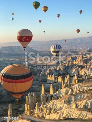 Flying over Cappadocia in a hot air balloon