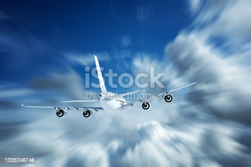 155380716 istock photo Flying over clouds 1205246746