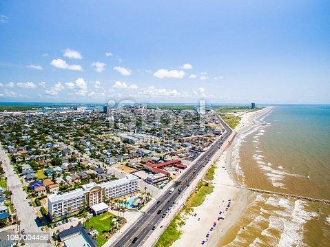Flying over Galveston Texas Sea Wall and Beach