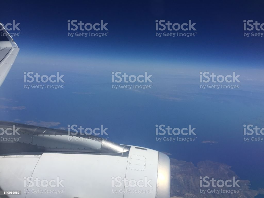Flying over Greece stock photo