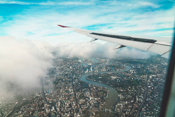 Flying over London stock photo