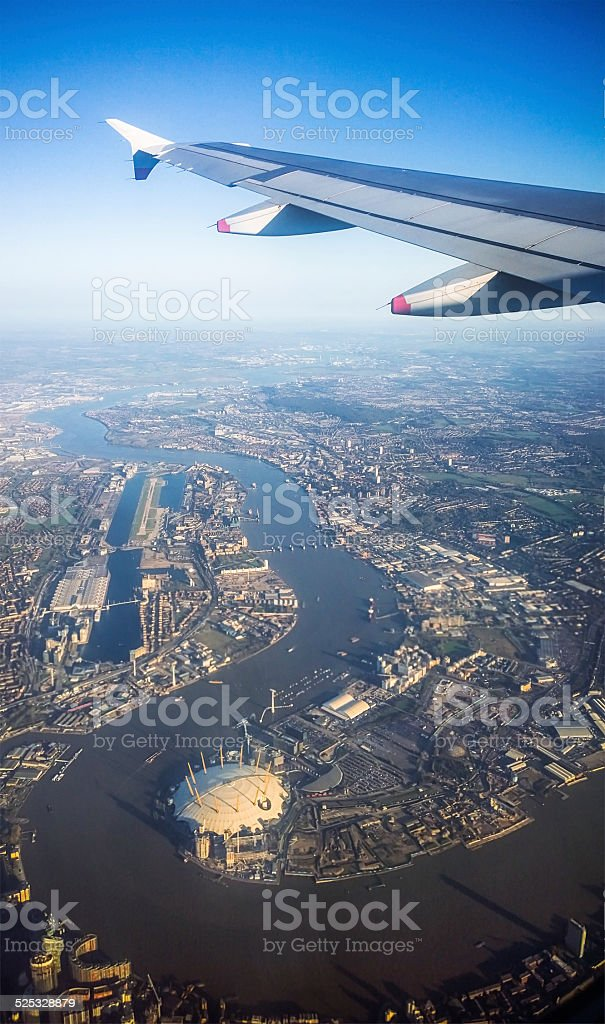 Flying over London stock photo