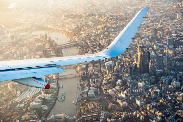 Flying over London's city centre stock photo
