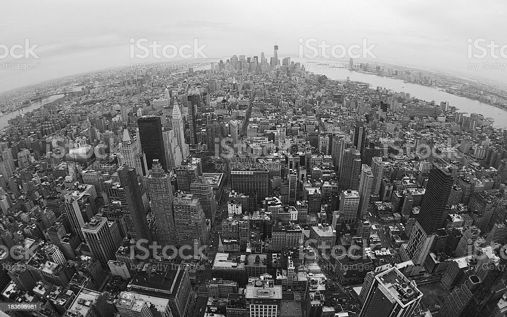 Flying over Manhattan royalty-free stock photo