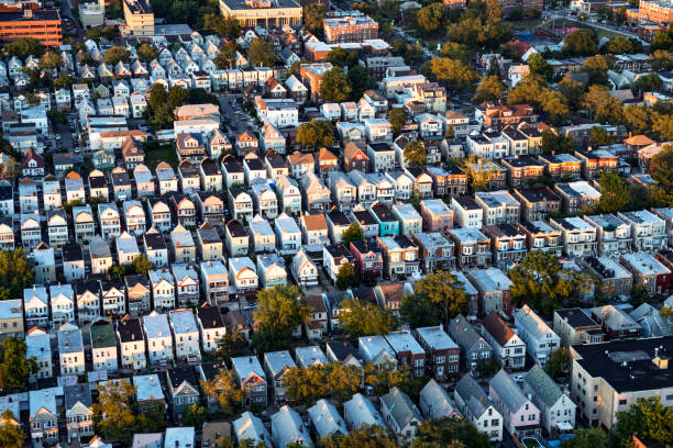 Flying over Residential District of New Jersey stock photo