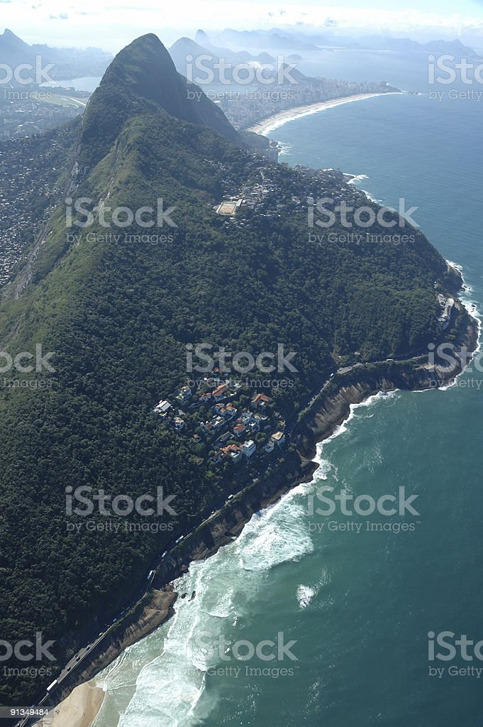 Flying over Rio de Janeiro coastline royalty-free stock photo